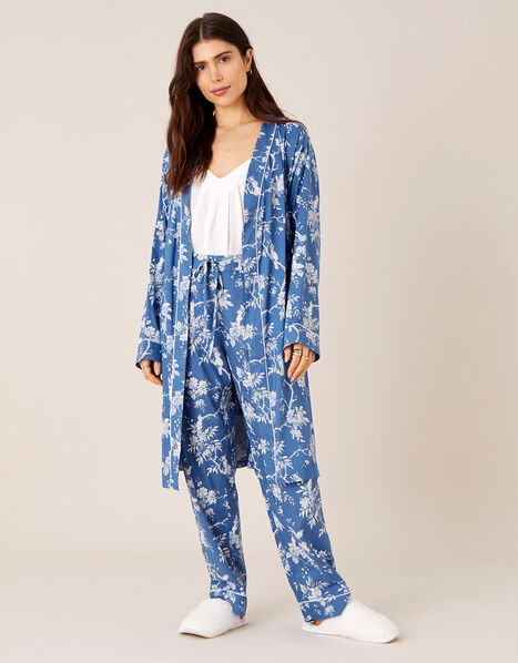 LOUNGE Floral Print Dressing Gown Blue, Blue (BLUE), large