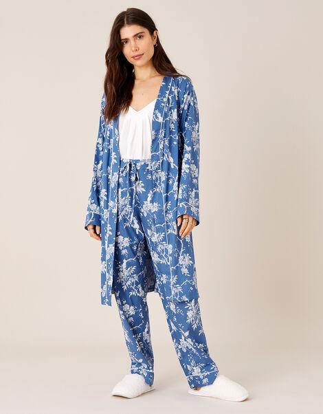 LOUNGE Floral Print Dressing Gown Blue, Blue (BLUE), large