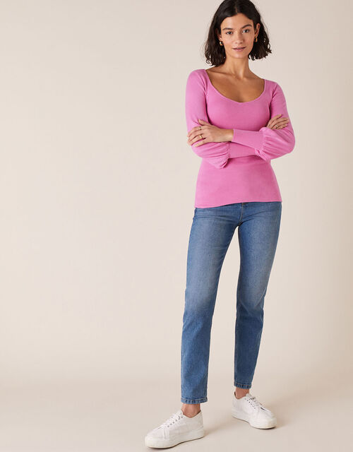 Sweetheart Neck Jumper, Pink (PINK), large