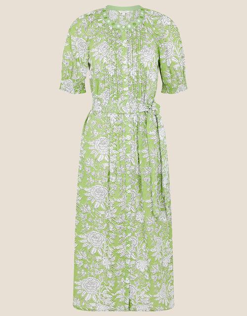 ARTISAN STUDIO Floral Belted Dress, Green (GREEN), large