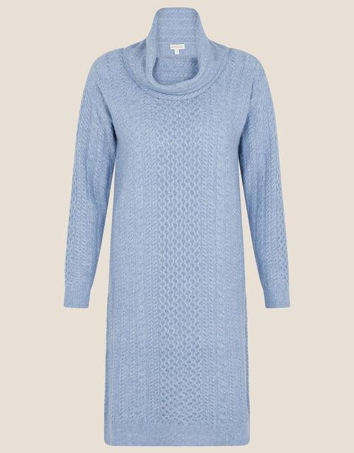 Cable Knit Cowl Neck Dress, Blue (BLUE), large
