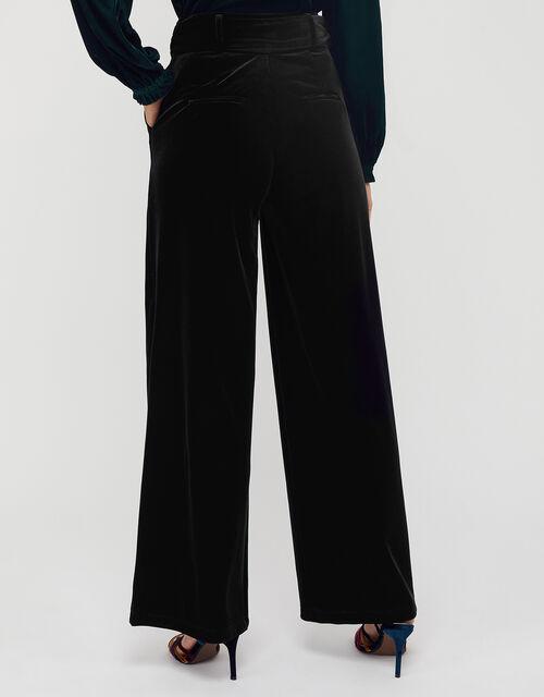 Victoria Velvet Wide Leg Trouser, Black, large