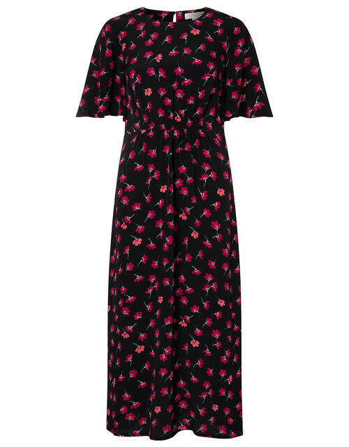 Abstract Floral Midi Dress in Sustainable Viscose, Black (BLACK), large