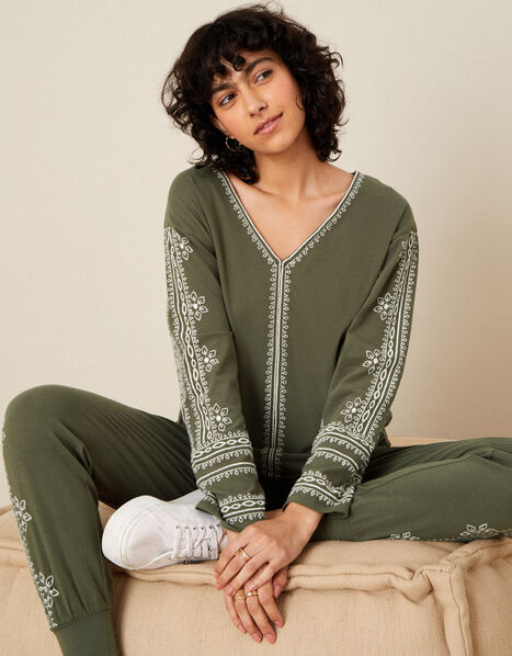 LOUNGE Embroidered Top Green, Green (KHAKI), large