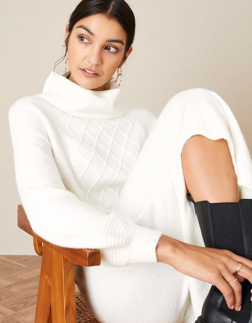 Longline Cable Knit Dress, Cream (CREAM), large