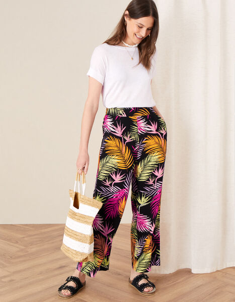 Palm Print Wide Leg Trousers Black, Black (BLACK), large