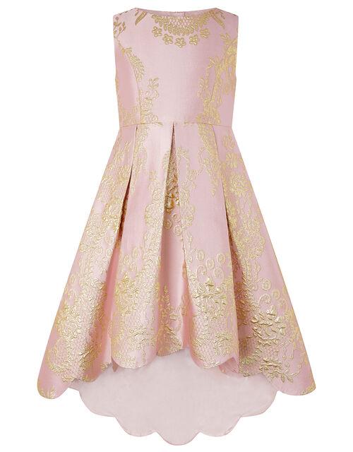 Rebecca Pink & White Jacquard High-Low Dress, Pink (PINK), large