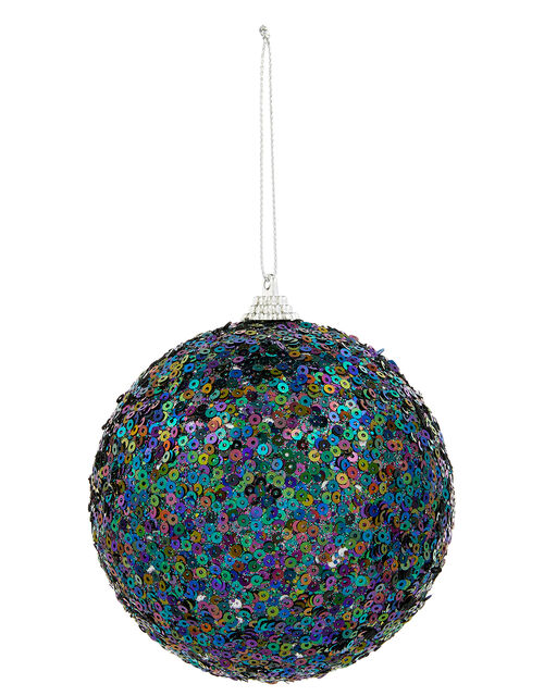 Peacock Sequin Large Bauble, , large