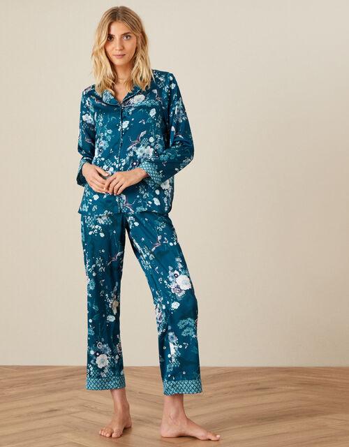 Floral Satin Pyjama Set, Teal (TEAL), large