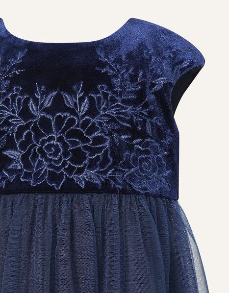 Baby Floral Velvet Dress Blue, Blue (NAVY), large