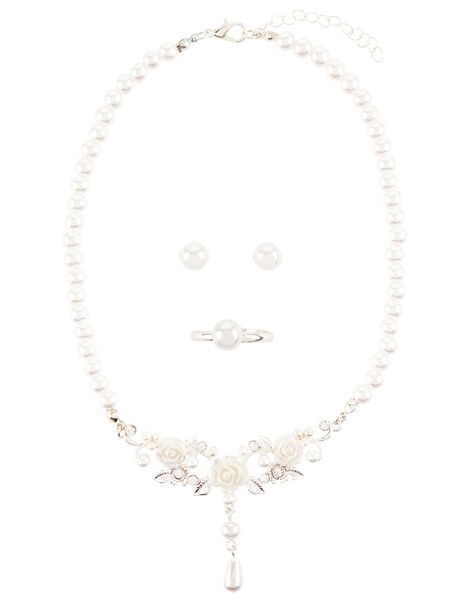 Hayley Pearl Rose Jewellery Set , , large