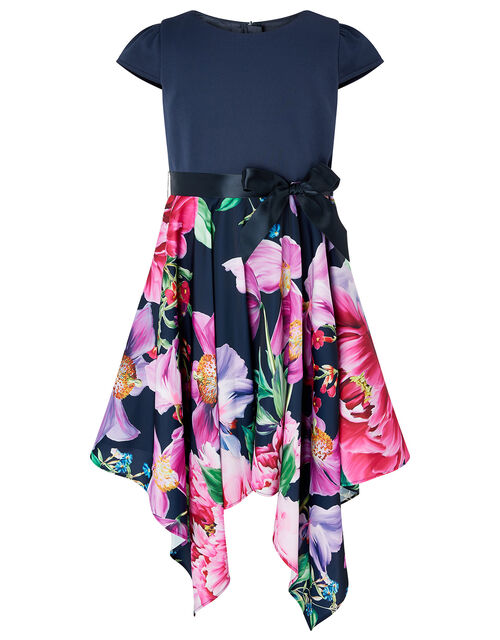 Floral Hanky Hem Dress, Blue (NAVY), large