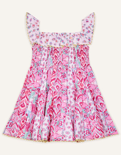 Baby Aztec Shirred Frill Dress  Pink, Pink (PINK), large