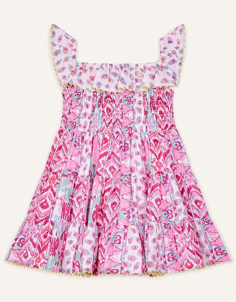 Baby Aztec Shirred Frill Dress  Pink, Pink (PINK), large