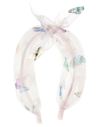 Rainbow Butterfly Knot Headband, , large