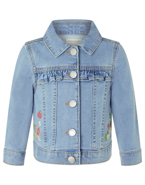 Baby Freya Denim Jacket with Floral Embroidery, Blue (BLUE), large