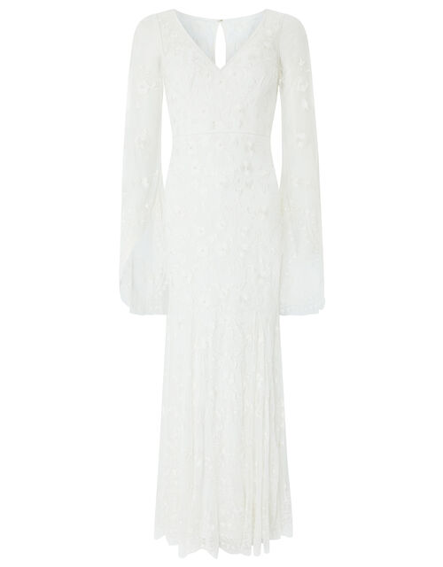 Evelina Bridal Fluted Sleeve Embellished Dress, Ivory (IVORY), large