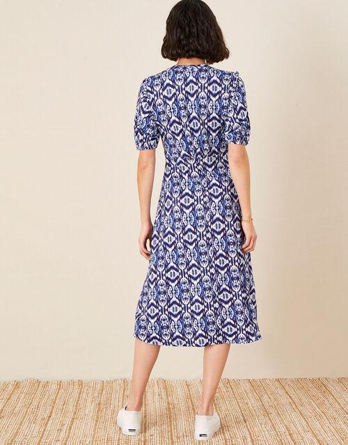 Ikat Printed Jersey Midi Dress, Blue (BLUE), large