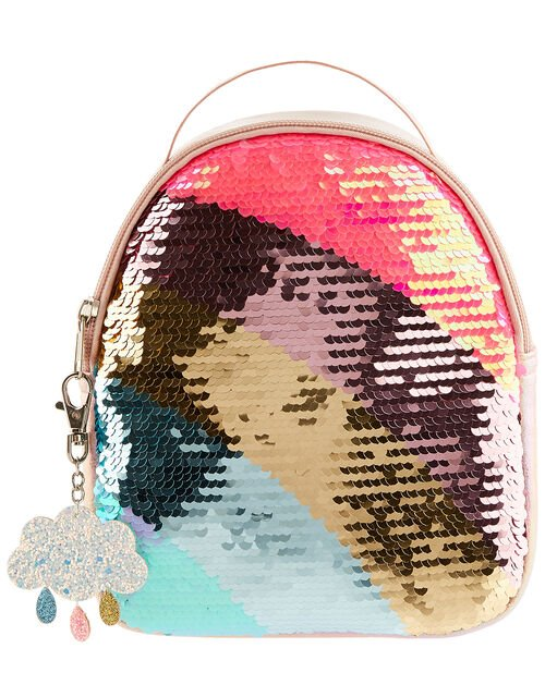 Rainbow Sequin Backpack with Keyring, , large