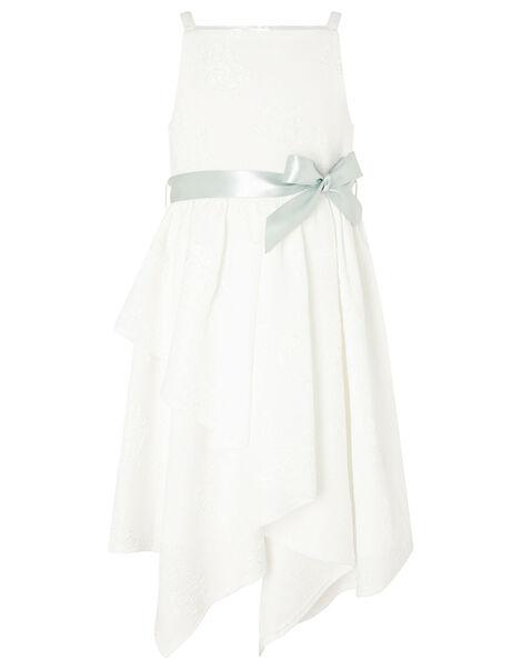Jersey Jacquard Hanky Hem Dress Ivory, Ivory (IVORY), large