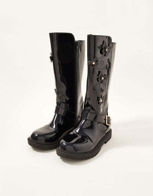 Patent Butterfly Riding Boots, Black (BLACK), large