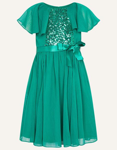 Sequin Cape Sleeve Dress Green, Green (GREEN), large