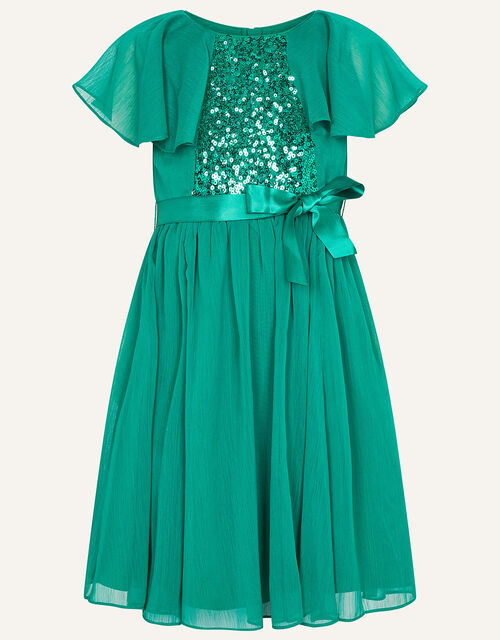 Sequin Cape Sleeve Dress, Green (GREEN), large