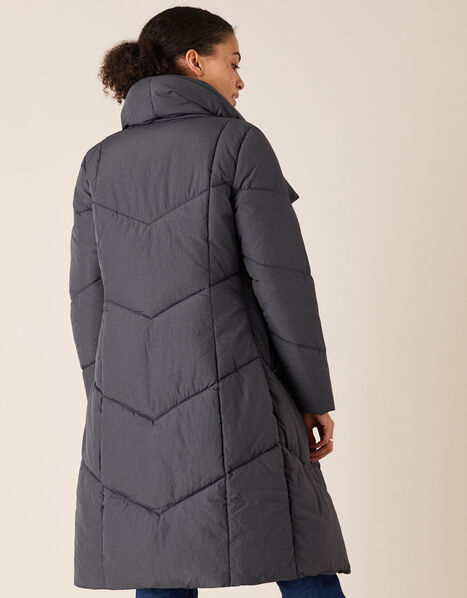 Dhalia Long Padded Coat in Recycled Fabric Grey, Grey (CHARCOAL), large