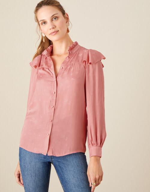 Fiona Frill Satin Jacquard Blouse, Pink (ROSE), large