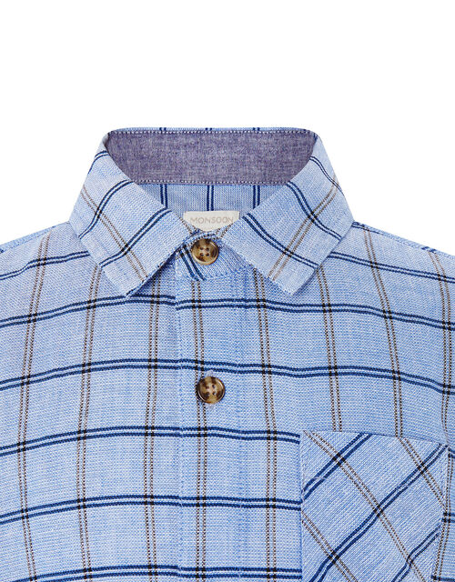 Check Short Sleeve Shirt in Pure Cotton, Blue (BLUE), large