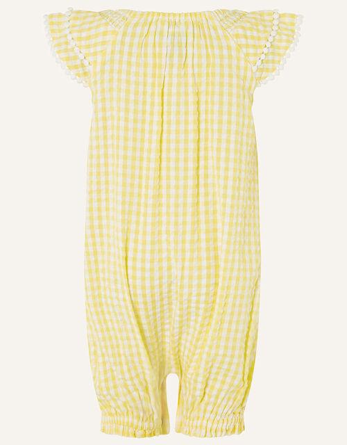 Baby Seersucker Romper, Yellow (YELLOW), large
