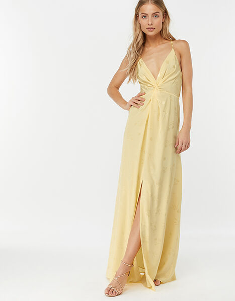 Karlie Knot Front Jacquard Dress Yellow, Yellow (YELLOW), large