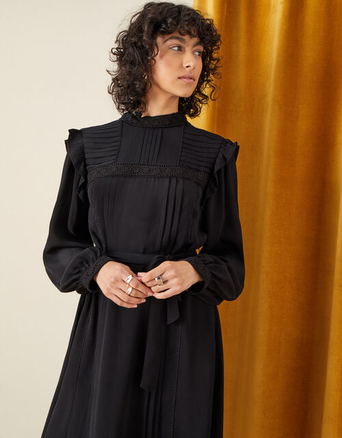 Victoriana Lace Trim Dress, Black (BLACK), large