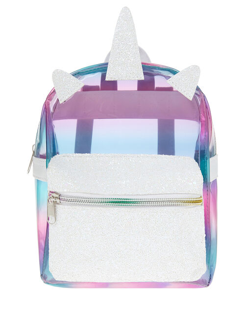 Rainbow Delight Plastic Unicorn Backpack, , large