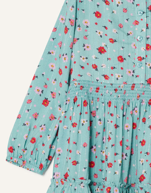 Ditsy Floral Tiered Shirt Dress, Blue (AQUA), large