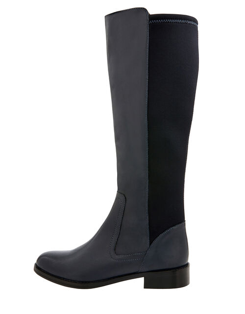 Olive Long Stretch Leather Boots, Blue (NAVY), large