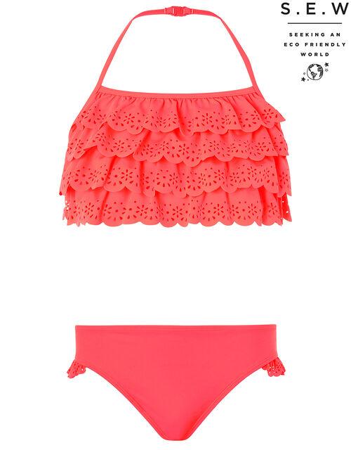 Rosie Ruffle Bikini Set, Orange (CORAL), large