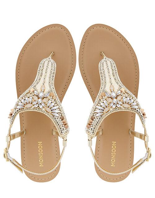 Rita Gem-Embellished Toe-Post Sandals, Gold (GOLD), large