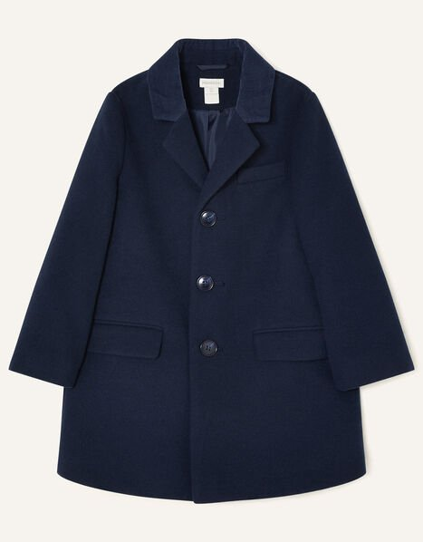 Cord Collar Overcoat Blue, Blue (NAVY), large