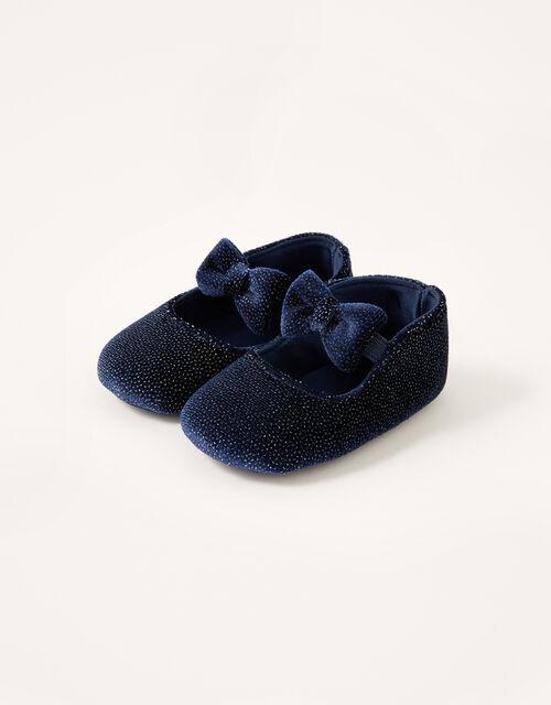 Shimmer Velvet Booties, Blue (NAVY), large