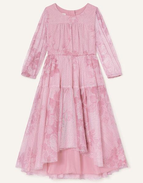 Lara Rose Print Long Sleeve Dress Pink, Pink (PINK), large