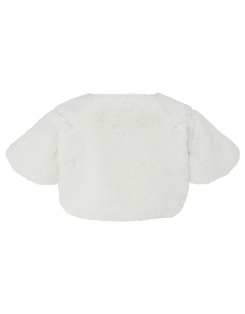 Baby Faux Fur Shrug, Ivory (IVORY), large