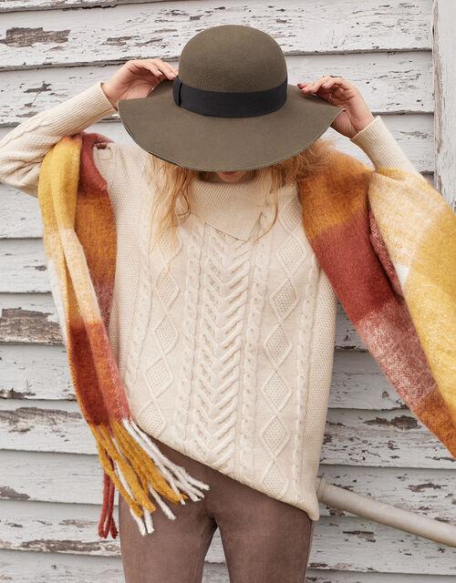 Statement Split Neck Cable Knit Jumper, Cream (CREAM), large