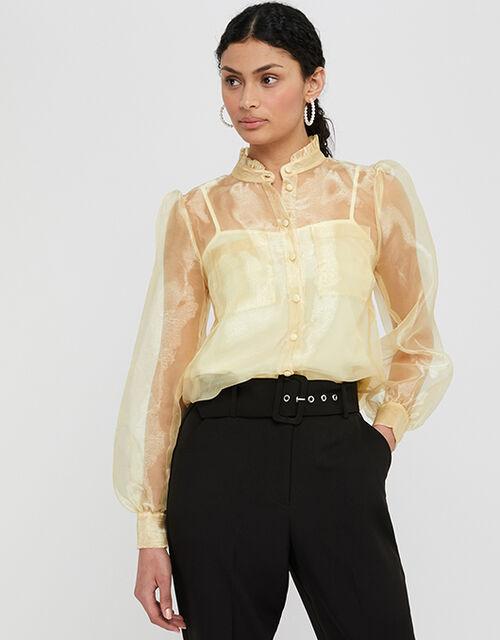 Olga Organza Buttoned Blouse, Yellow (YELLOW), large