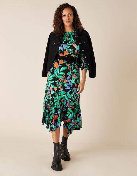 Leaf Print Hanky Hem Dress with LENZING™ ECOVERO™ Green, Green (GREEN), large