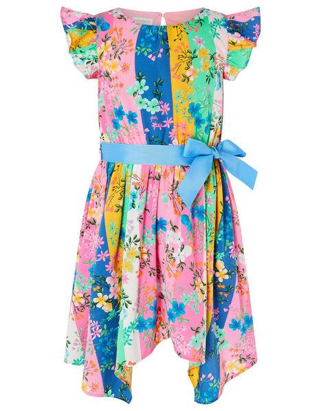 Floral Stripe Hanky Hem Dress Multi, Multi (MULTI), large
