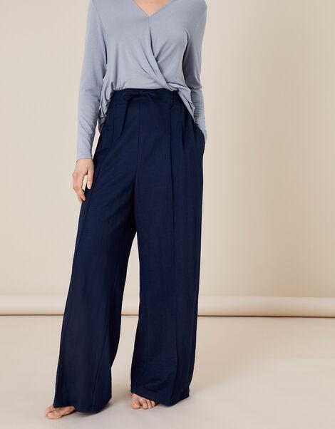 Wide-Leg Trousers Blue, Blue (NAVY), large
