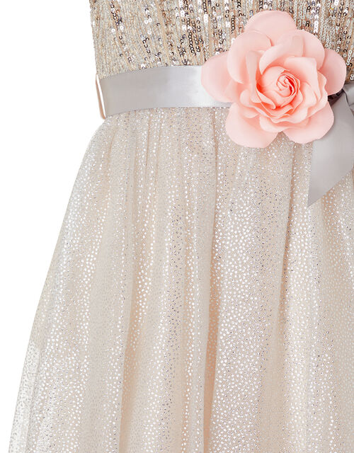 Bailea Sequin Sparkle Maxi Dress, Natural (CHAMPAGNE), large