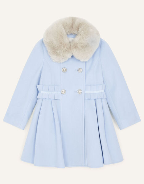 Ruffle Waist Coat Blue, Blue (PALE BLUE), large