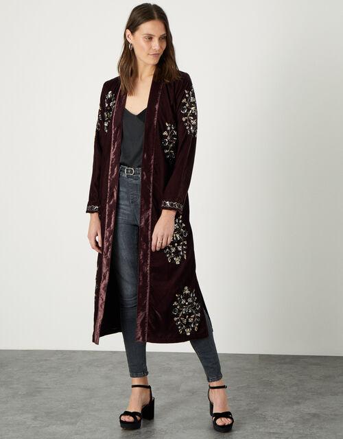 Cleo Velvet Embroidered Kimono, Brown (CHOCOLATE), large